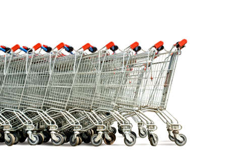 checkout: row of shopping trolley isolated over white background Stock Photo