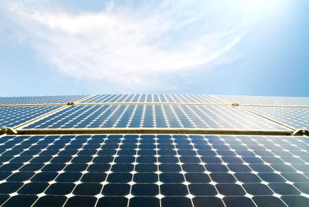 modules: solar panels against a blue sky Stock Photo