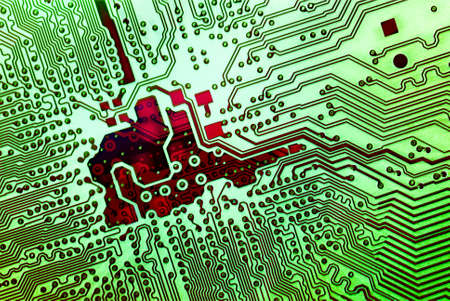 distort: backlight effect on circuit board Stock Photo