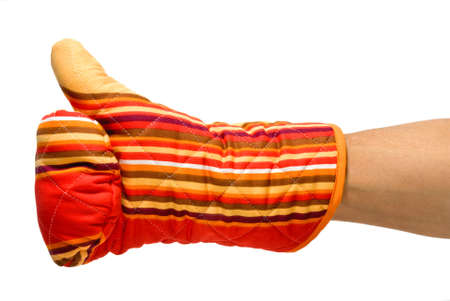 approbation: okay gesture with a red oven glove Stock Photo