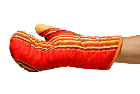 scald: red oven glove for burning prevention