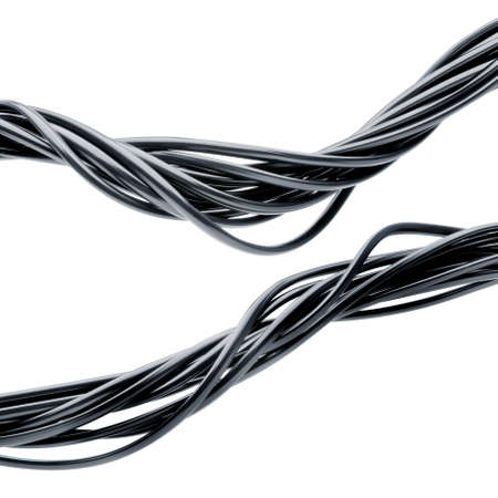 electrical wires: bundle of electric cables isolated over white background