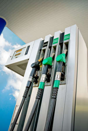 gallons: fuel panel in a gas station, low angle view Stock Photo