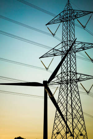 electric supply equipments silhouetted against the sky Stock Photo