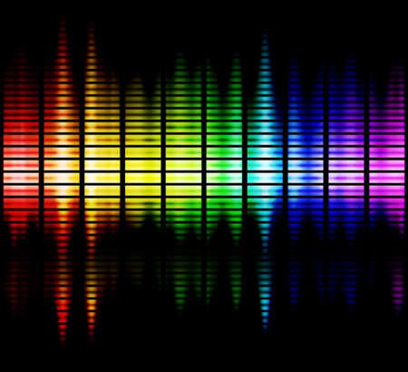 geluid: geluidsgolven in het gamma van weergegeven kleuren Stockfoto