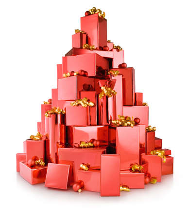 red gift boxes in the shape of tree