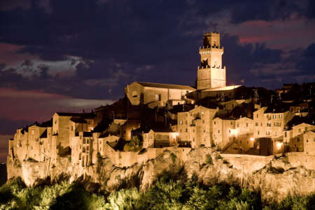 Pitigliano by night, typical village of the italian Tuscany land Stock Photo