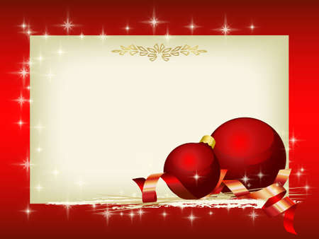 golden  gleam: Christmas decoration with red balls and blank area