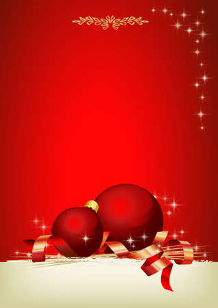 merry time: Christmas decoration with red balls and customizable area Stock Photo