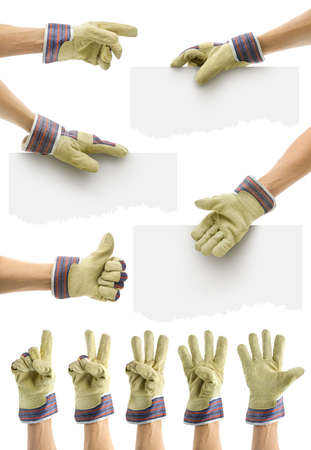 customizable: hands with gauntlet for customizable commercials offers Stock Photo