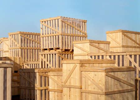 stock of heavy goods in wooden cases Standard-Bild