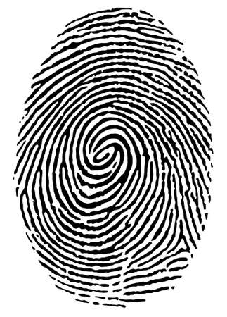 fingertip: black thumbprint over white Illustration