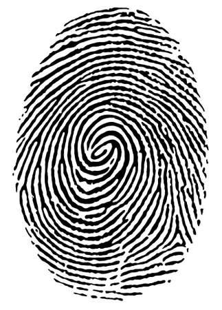odcisk kciuka: odcisk kciuka na czarno białe Ilustracja