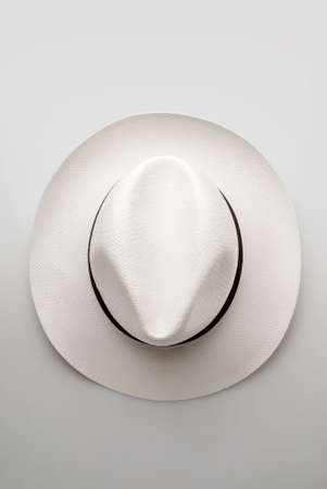 top view of white hat panama model Stock Photo