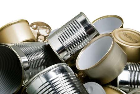 metallschrott: Stapel von Zinn-Dosen, die darauf warten, recycelt werden Lizenzfreie Bilder