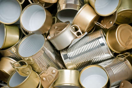 scrap heap: Various types of tin cans to be recycled