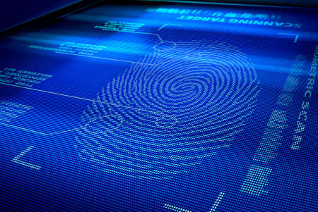verification: identification system interface scanning a human fingerprint Stock Photo