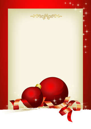 Christmas decoration with red balls and customizable area Illustration