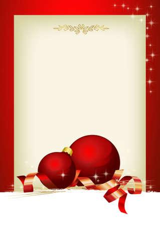 feliz: Decorazioni di Natale con palle rosse e area personalizzabile
