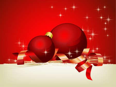 seasonal symbol: Decoraci�n de Navidad con bolas rojas y �rea personalizable  Vectores
