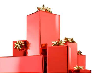cajas navide�as: cajas de Navidad aislados sobre fondo blanco  Foto de archivo