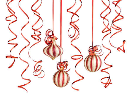 christmas decorations with ribbons and balls isolated over white background Stock Photo