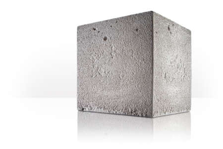 concrete cube over white background Stock Photo