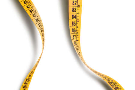 graphic image of two measuring tapes isolated over white background Stock Photo - 8543783