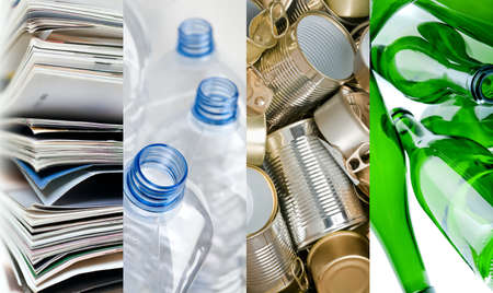 Recyclable materials paper metals plastic and glass bottles in four frames photo