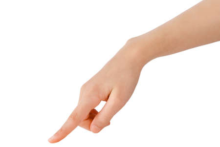 fingertip: young hand in the gesture of touching, pushing, indicating Stock Photo
