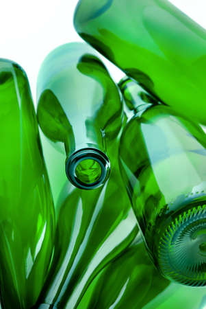 heap of green bottles of glass for recycle