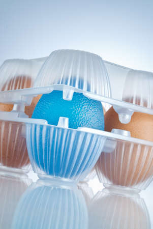 eggs package, the blue egg stands for GMO food Stock Photo - 9379366