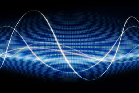 audio wave: close up of blue monitor displaying waves