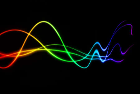 audio wave: colorful rainbow waves with fading distortion
