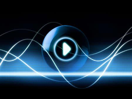 wellenl�nge: Music sound abstraktes Konzept Ergebnis audio Wellen Vermehrung und Play Button-Symbol
