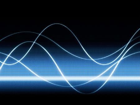 sonido: cerca de monitor azul mostrar curvas de sines Foto de archivo