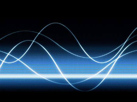 wave sound: close up of blue monitor displaying sines curves Stock Photo