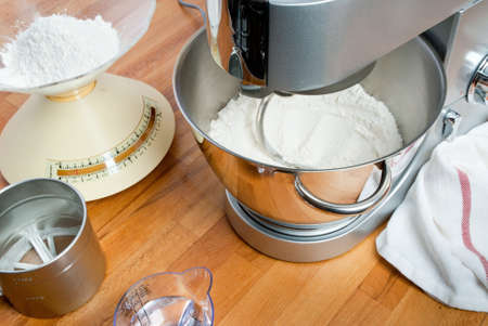 ambientation with kneading machine and acessories to prepare the dough photo