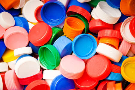 plastic: recyclable colorful plastic caps background