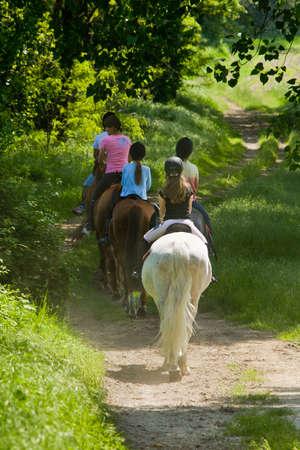 free riding: giovane cavallo ragazzi gita vista posteriore