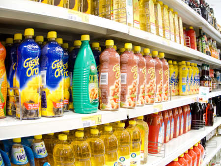 closeup of industrial products in a supermarket