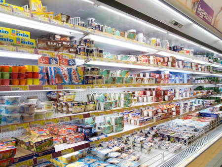 closeup of refrigeratedproducts in a supermarket Editorial