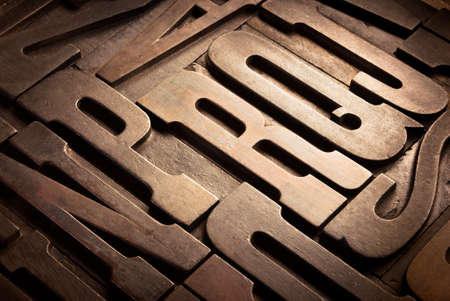 old wooden uppercase type in perspective
