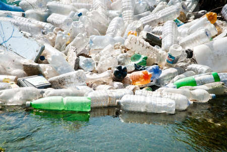 river waters polluted by plastic garbage