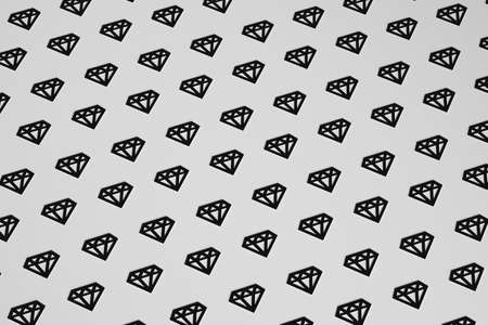 Diamonds on black background 3D illustration.