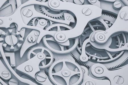 Bekijk mechanisme 3D illustratie met versnellingen