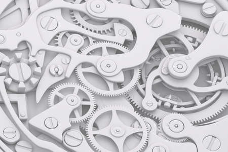 Watch mechanism grayscale 3D illustration with gears Stock Photo