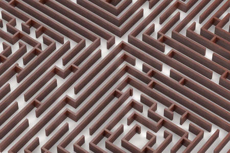 Wood texture maze. Close up 3D rendering image on white background