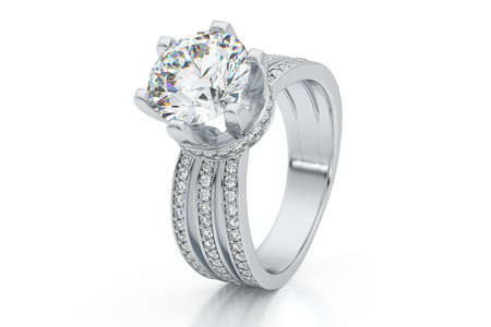 Jewelry engagement diamond ring white gold 3D rendering