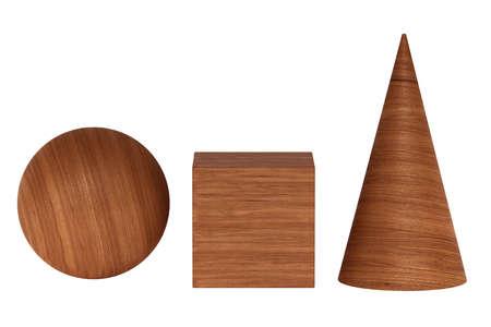 Mahogany wood 3D rendering figures geometric shadowless isolated on white Standard-Bild